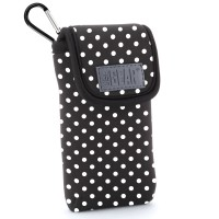 USA GEAR FlexARMOR D50 Portable Pocket Radio Case with Carabiner Carrying Clip, Belt Loop - Polka Dot