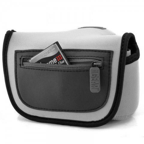 USA GEAR DSLR Camera Sleeve Case with DuraNeoprene Technology, Accessory Storage and Strap Openings - Grey