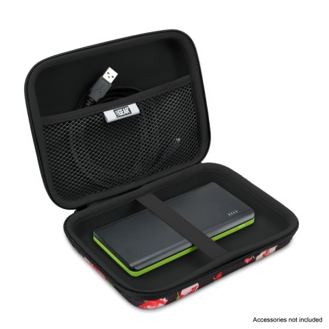 Hard Shell Electronics Case by USA Gear- Holds Cables , Chargers , GPS , Smartphones , Hard Drives - Floral
