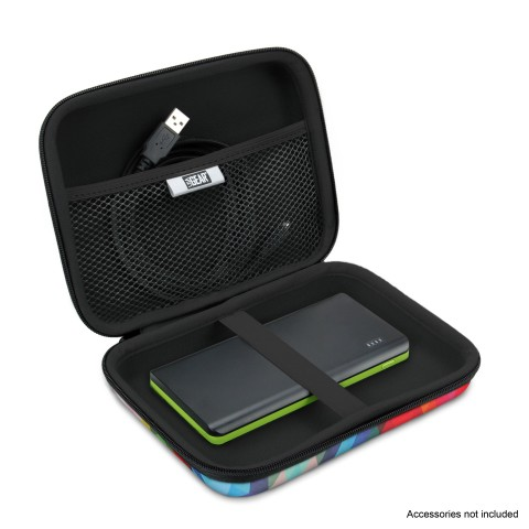 Hard Shell Electronics Case by USA Gear- Holds Cables , Chargers , GPS , Smartphones , Hard Drives - Geometric