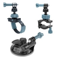 USA GEAR Extreme Sports Action Camera Mount Bundle with Included Suction Cup , Handlebar and Zip Mount